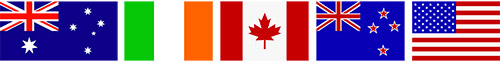 Flaggen Australien Irland Kanada Neuseeland USA